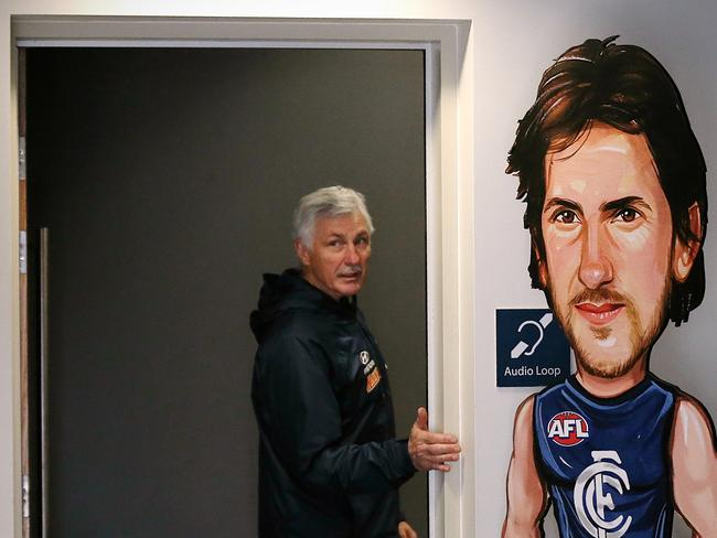 Mick Malthouse exits a media conference. Picture: Wayne Ludbey