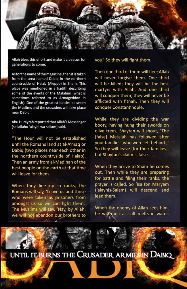 Islamic State's version of the Dabiq prophecy, published in an issue of their propaganda magazine with the same name.