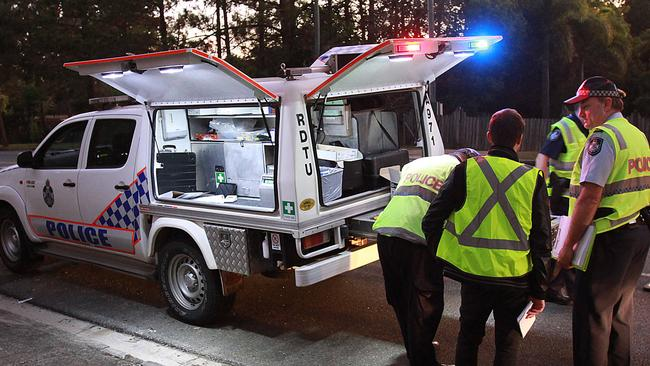 A roadside drug-testing unit on Mount Cotton Rd Capalaba. Picture: Marc Robertson