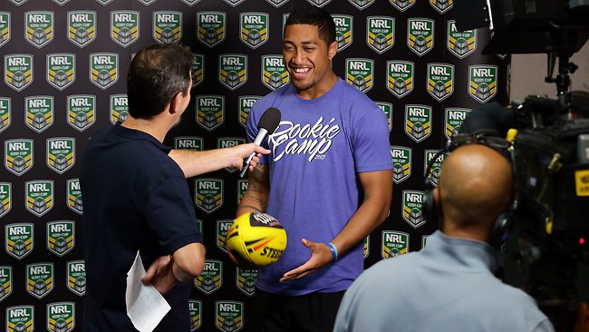 Sione Fe'ao from the Warriors gets some media training with Matt Russell from Fox. Picture: Adam Head