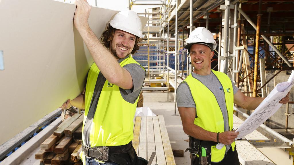 Carpenters Mark Cook and Jack Checkley, of M2 Carpentry, at work in Bondi Junction yesterday. Picture: Justin Lloyd