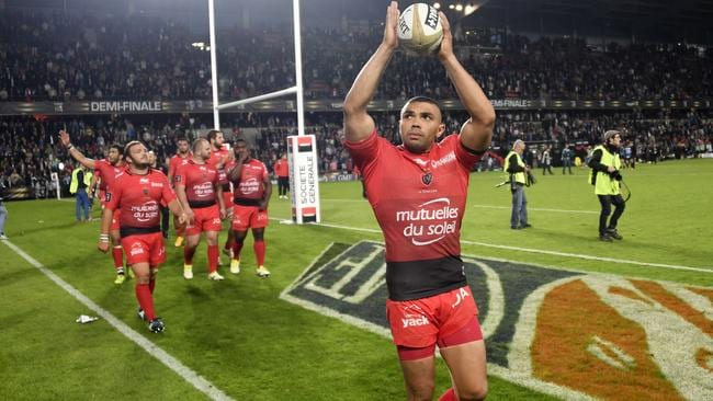 Toulon winger Bryan Habana celebrates after winning the French Top 14 semi-final.