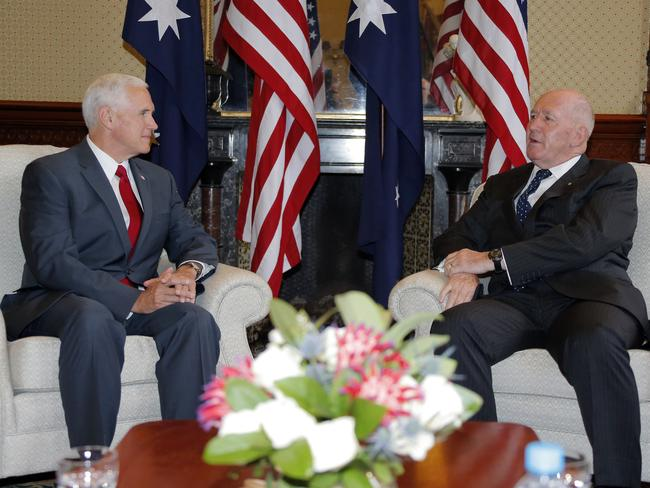US Vice President Mike Pence, left, meets with Australia's Governor-General Peter Cosgrove at Admiralty House in Sydney.