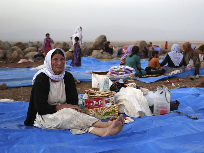 Humanitarian disaster...Displaced Iraqis from the Yazidi community settle at a camp at Derike, Syria. Picture: AP