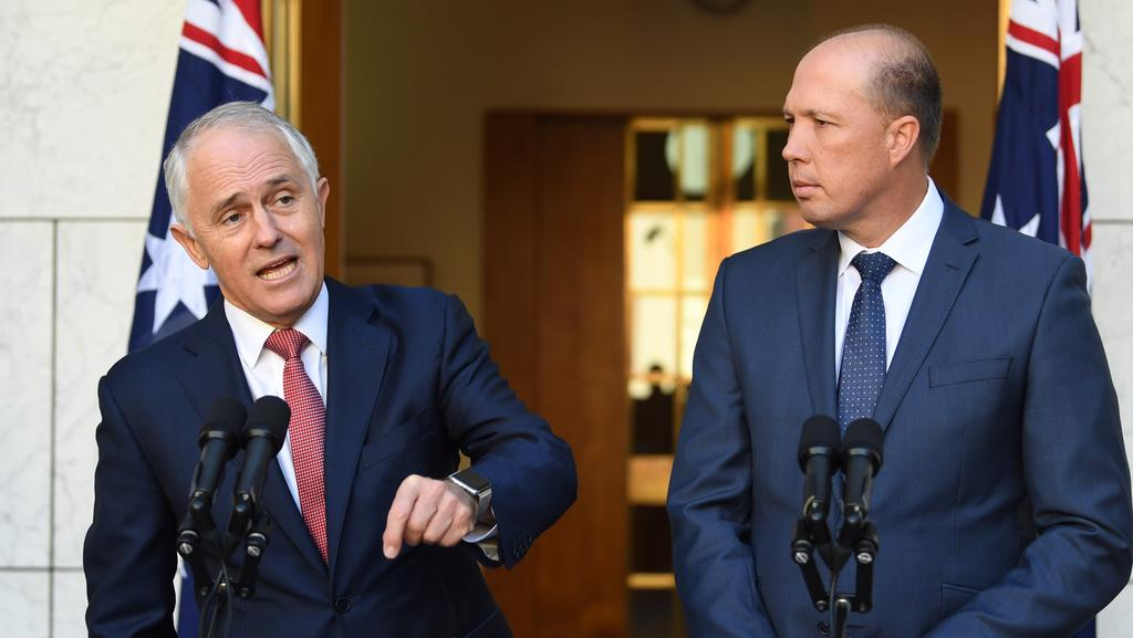 Prime Minister Malcolm Turnbull (left) and Immigration Minister Peter Dutton announced changes to the citizenship test. Picture: AAP Image/Lukas Coch