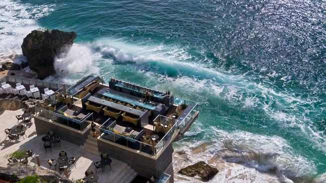 The Rock Bar at the Ayana Resort Bali balances above Jimbaran Bay in Bali.