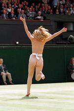 <p>Sporting events have always attracted streakers - such as this blonde who sprinted across Centre Court before the start of the Men's Singles final at the Wimbledon tennis championships in 1996.</p>