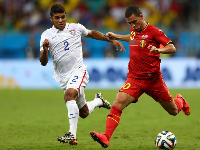 Eden Hazard of Belgium controls the ball.