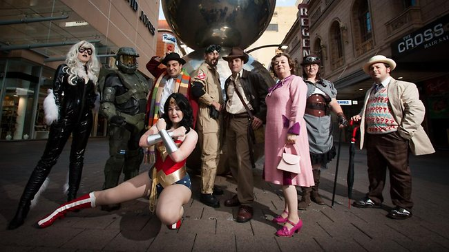 Comic-Con characters in Rundle Mall earlier this year. Picture: James Elsby