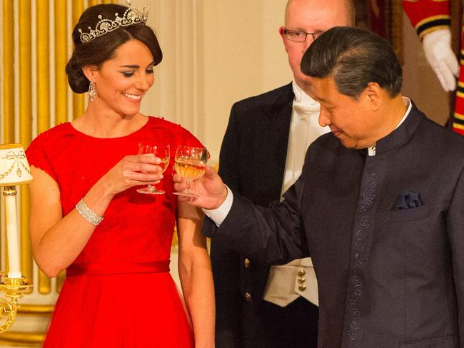 Kate wore the lotus flower tiara to an official diplomatic event at Buckingham Palace in 2015. Picture: Dominic Lipinski/Getty Images