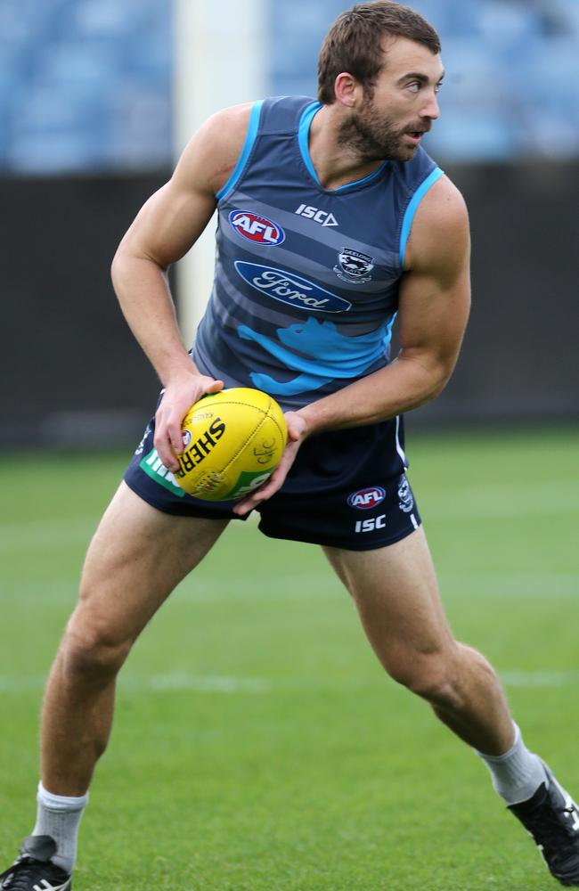 Geelong star Corey Enright will decide on his future at the end of the season. Picture: Mike Dugdale