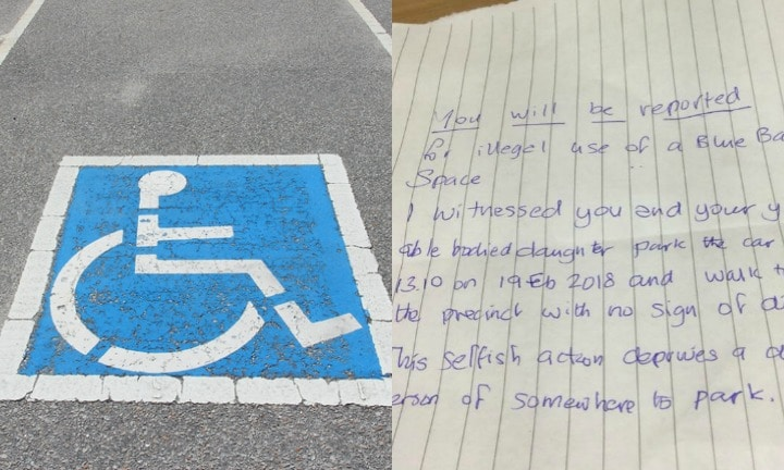 'You will be reported': Awful note left on a mum's car in a disabled spot
