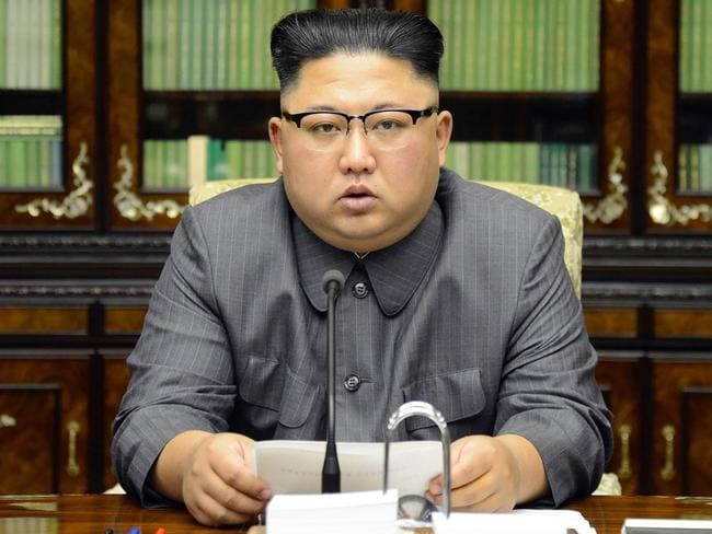 North Korean leader Kim Jong-un delivering a statement in Pyongyang as regards to a speech made by the president of the United States of America at the UN General Assembly. Picture: AFP