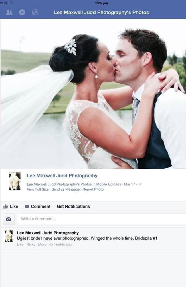 My wedding photo nightmare  One bride     s bitter dispute with a man     A post on the Facebook site of the photographer Lee Judd that set it all off