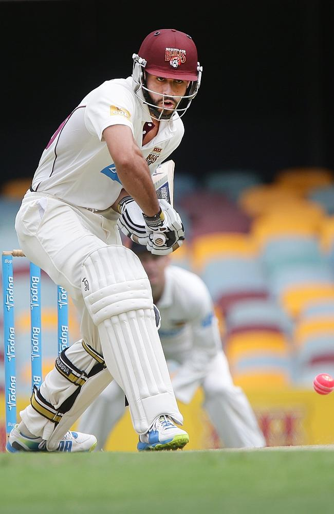 Michael faces up to the pink ball in Queensland's match against Western Australia at the Gabba.