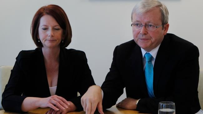 Julia Gillard?s strained meeting with Kevin Rudd after successfully challenging him for the leadership. Picture: Andrew Meares
