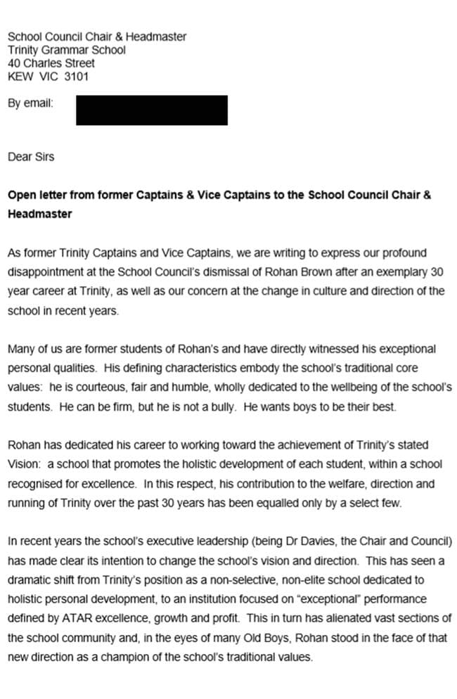 The letter to the council board.