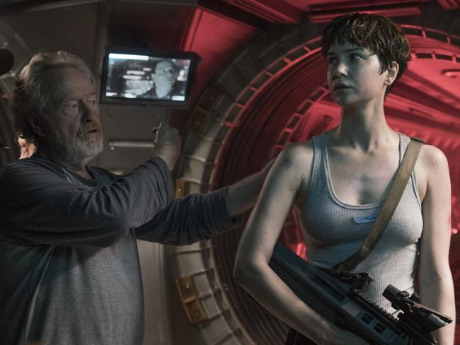 Director Ridley Scott with Waterston on the Sydney set of Alien: Covenant. Picture: Mark Rogers