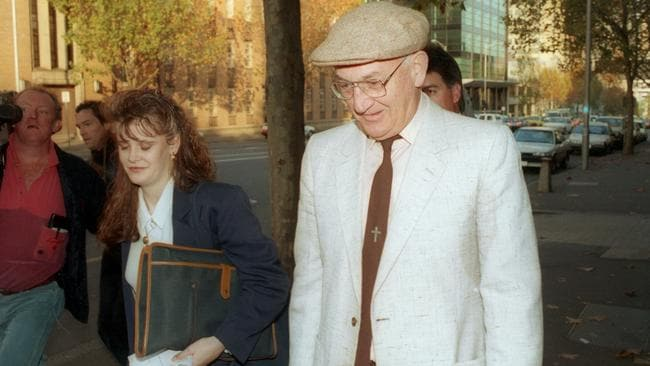 Gerald Ridsdale leaves the Melbourne Magistrates Court.