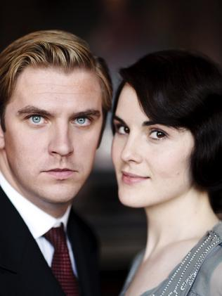 Quit ... Dan Stevens as Matthew Crawley, left, and Michelle Dockery as Lady Mary Crawley, in Downton Abbey. Stevens left the show after three seasons to pursue a movie career. Picture: AP