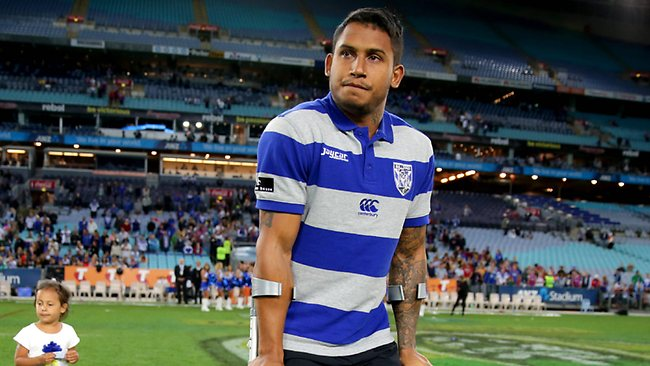 Ben Barba limps off in his last game for the Bulldogs. Picture: Gregg Porteous