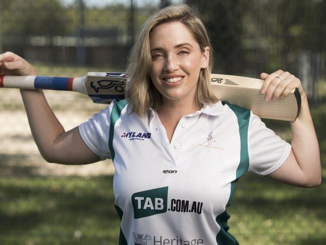 Sky Racing presenter Libby Hopwood prepares of the National Jockeys' Trust T20 charity cricket game at Caulfield on Monday.