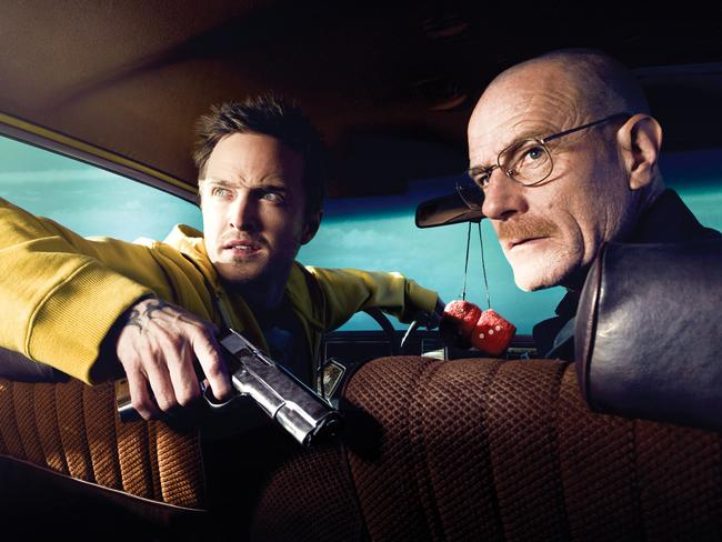 Aaron Paul, left, and Cranston in a scene from Breaking Bad. Picture: Supplied
