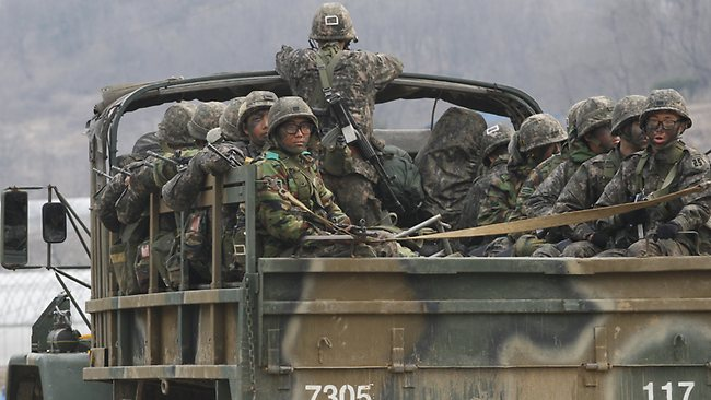 South Korean army soldiers on a military truck move during an exercise against possible attacks by North Korea in Pocheon, South Korea, near the border with North Korea. Picture: AP /Ahn Yong-joon