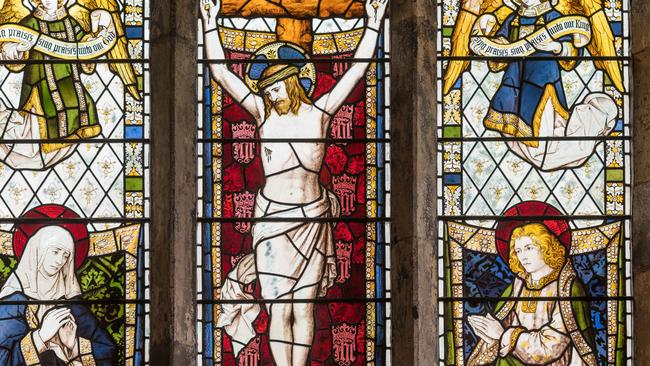 A stained glass window from England's York Minster, one of the largest cathedrals in northern Europe, consecrated in 1472.