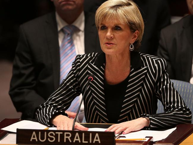 Diplomacy in action ... Australia's foreign minister Julie Bishop speaks during a meeting of the United Nations (UN) Security Council. Picture: Spencer Platt