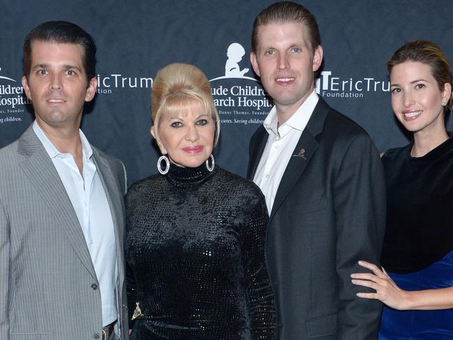 Donald Trump Jr., Ivana Trump, Eric Trump and Ivanka Trump in 2015. Picture: Getty