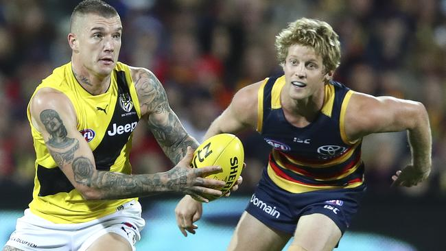 Dustin Martin in the 'canary' yellow. Picture Sarah Reed