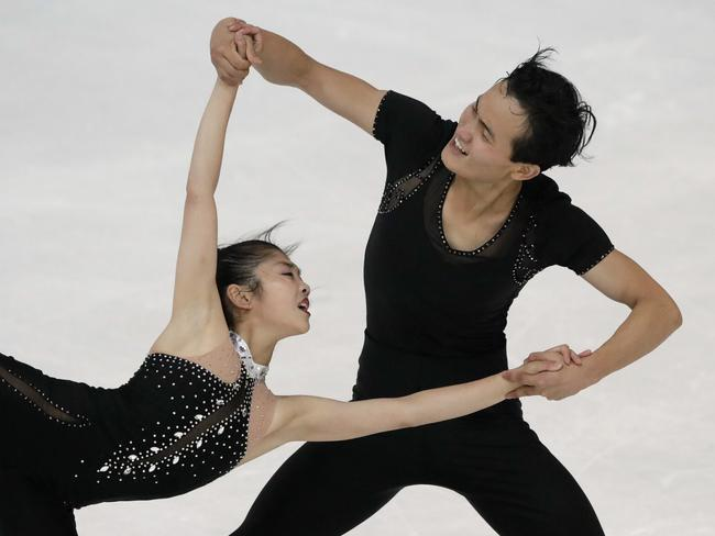 The young pair have trained in Montreal and made it to the Olympics on merit. Picture: AP Photo/Matthias Schrader, File
