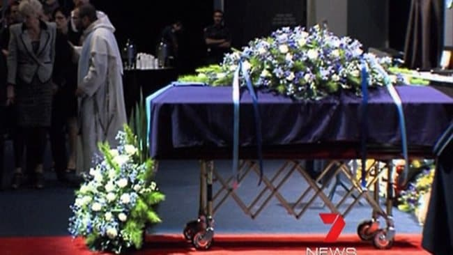 Damian Leeding's casket at the funeral service. Picture: 7 Channel