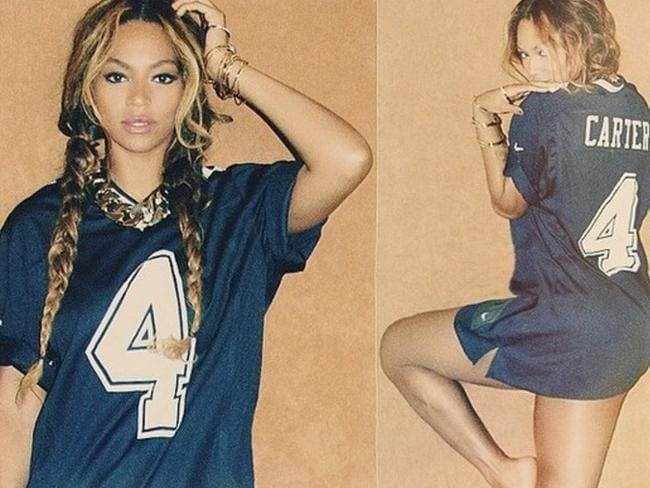 PR campaign ... Beyonce shows off her 'Carter' jersey. Picture: Instagram