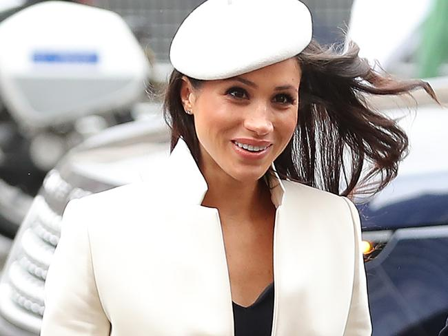 All eyes were on Meghan Markle and her jaunty outfit at a Commonwealth Day Service at Westminster Abbey. Picture: AFP