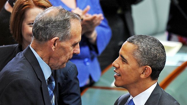 President Obama and Bob Brown have a brieft chat, as PM Julia Gillard looks on in the background. Picture: AFP