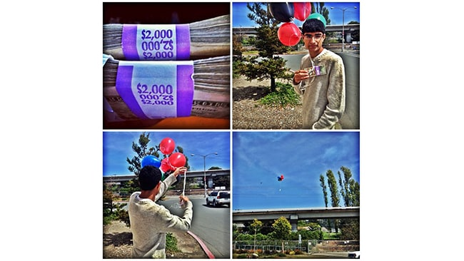 """""""Flying away bandz,"""" Param ties $4,000 to a bunch of balloons and lets it fly away."""
