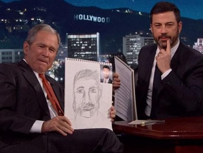 Former US president George W Bush was in a jovial mood in a rare TV appearance on <i>Jimmy Kimmel Live!</i> Picture: ABC