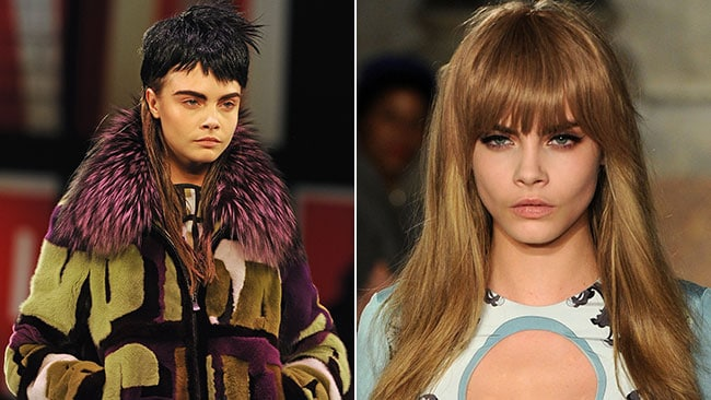 Model-of-the-moment Cara Delevinge sporting a mullet at the Jean Paul Gauliter show, and looking her normal luxurious self on the Emilio Pucci runway. Pictures: Getty