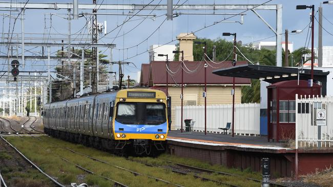 Trains at Mordialloc station. Picture: Chris Eastman