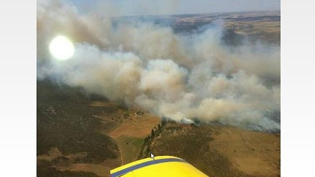 An aerial photograph of the Yarrabin fire burning in the Cooma Monaro area. Picture: NSW RFS