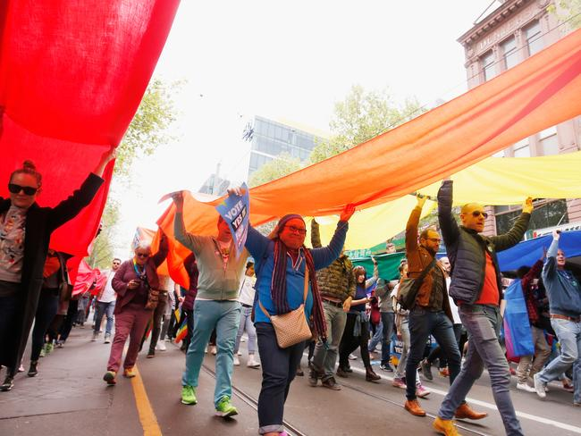 Thousands marched down Melbourne's Swanston Steet in support of same sex marriage last week. Picture: Getty