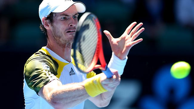 Andy Murray hits a winner during his straight sets victory over Robin Haase.