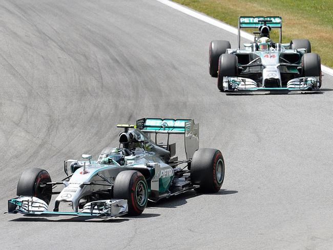 The Mercedes of Nico Rosberg (L) and Lewis Hamilton have dominated this F1 season.