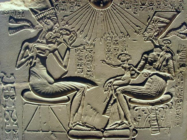 The complex, incestuous web of wives surrounding Pharaoh Akhenaten is not fully understood. Here he and his favourite queen, Nefertiti, play with their children.