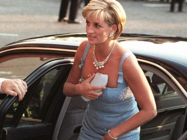Princess Diana arrives at the Royal Albert Hall for a gala performance of Swan Lake, as patron of English National Ballet, two months before she died. Picture: AP
