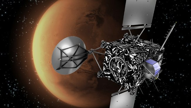 Long shot... An artist's impression of the Rosetta probe with Mars in the background. Rosetta is on a quest to hunt a comet in the depths of the Solar System and shadow it around the Sun.