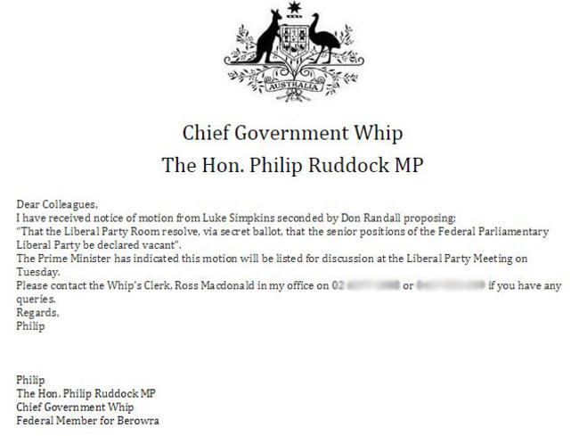 Motion confirmed ... the email sent by Philip Ruddock.