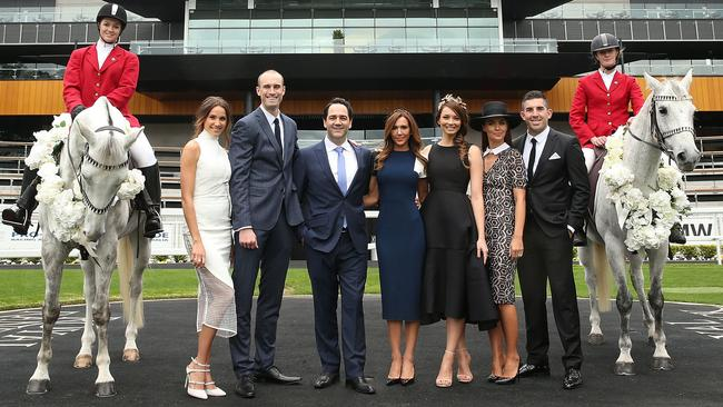 The team (from left) Rachael Finch, Ryan Fitzgerald, Michael Wipfli, Kyly Clarke, Ricki-Lee Coulter, Jodi Anasta and Braith Anasta pose at Royal Randwick. Picture: Mark Metcalfe/Getty Images